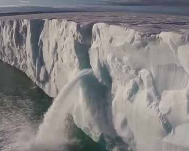 Photo of drone video shot over Antarctic ice.