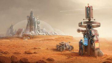 Illustration of explorer at workstation on mars.