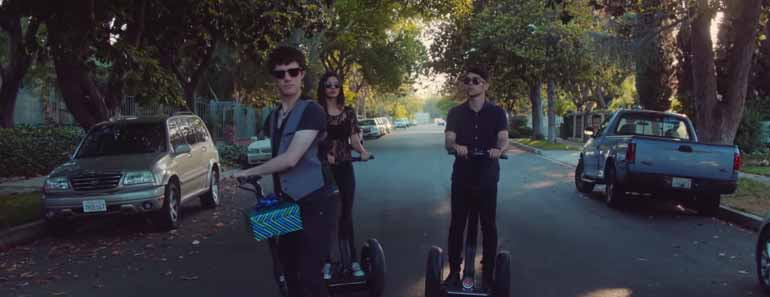 Photo of Victoria Justice, Max and Kurt Schneider performing a medley of Timberlake songs while riding Segways.