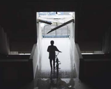 Photo of Tyler Fernengel with his BMX at the Silverdome.